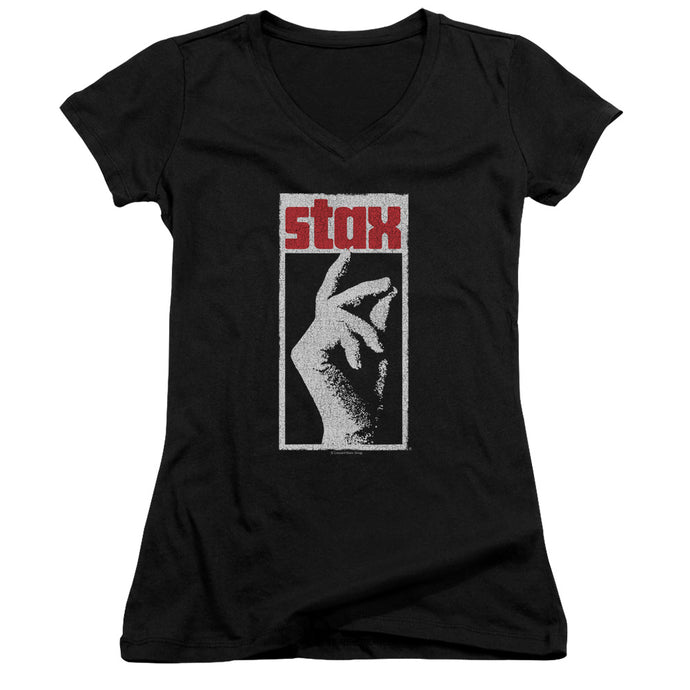 Stax Records Stax Distressed Junior Sheer Cap Sleeve V-Neck Womens T Shirt Black