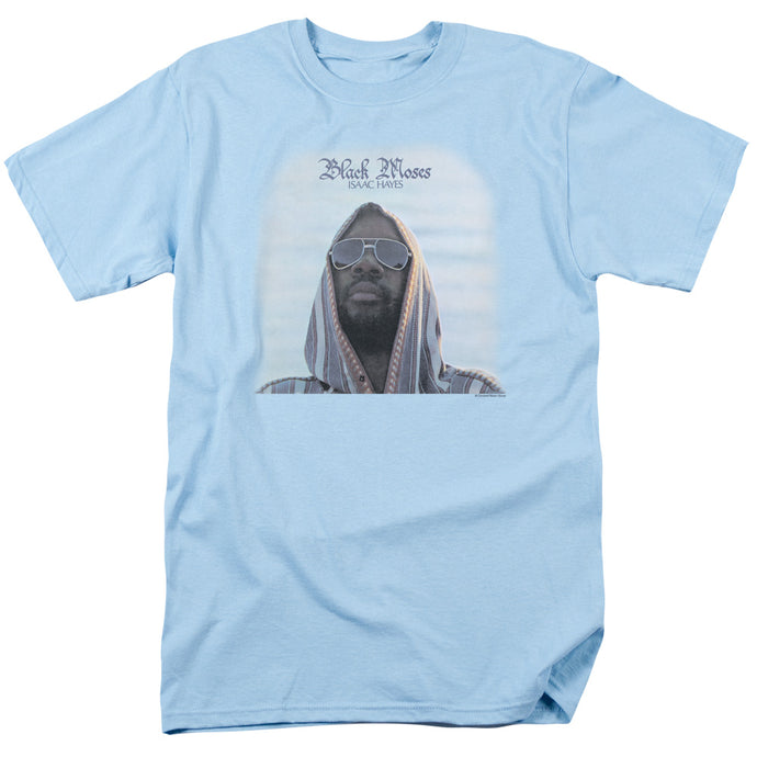 Isaac Hayes Black Moses Mens T Shirt Light Blue