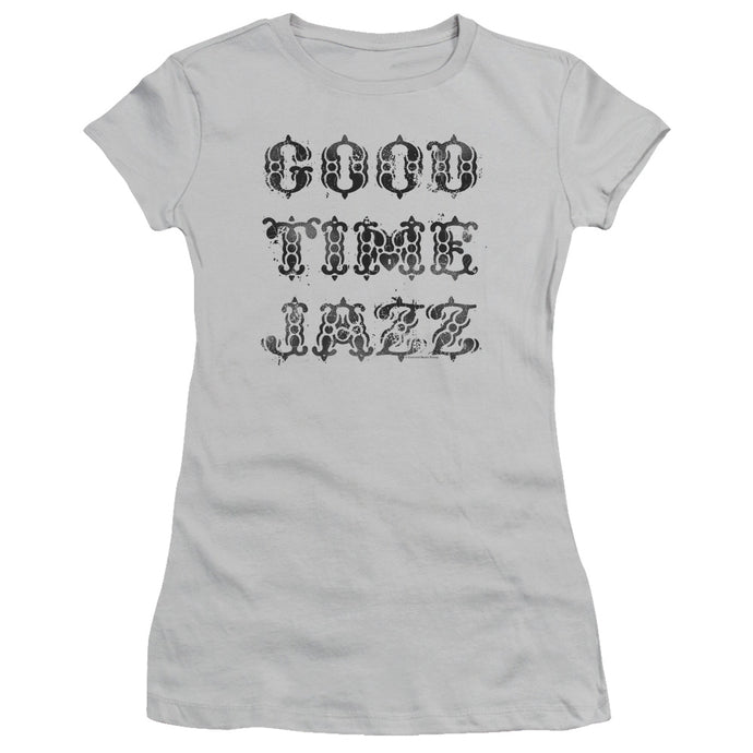 Good Time Jazz GTJ Vintage Junior Sheer Cap Sleeve Womens T Shirt Silver