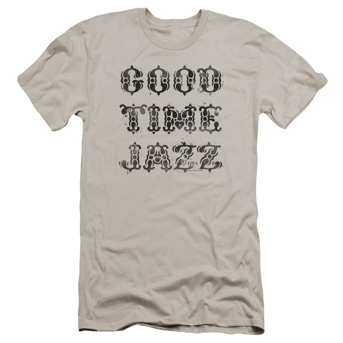 Good Time Jazz GTJ Vintage Premium Bella Canvas Slim Fit Mens T Shirt Silver