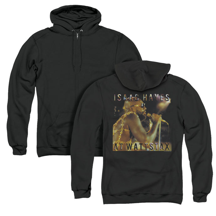 Isaac Hayes At Wattstax Back Print Zipper Mens Hoodie Black