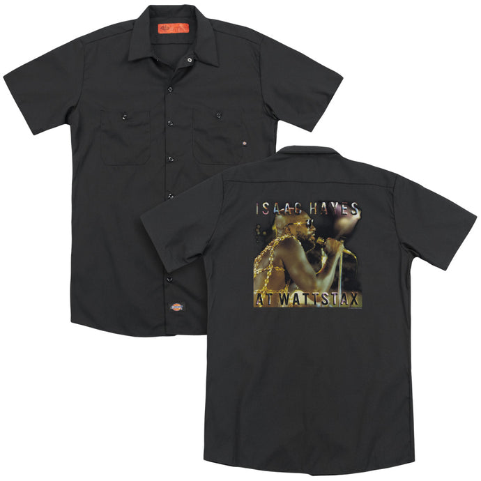 Isaac Hayes At Wattstax Back Print Mens Work Shirt Black