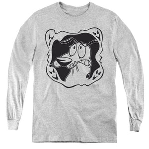 Courage the Cowardly Dog Ghost Frame Long Sleeve Kids Youth T Shirt Athletic Heather