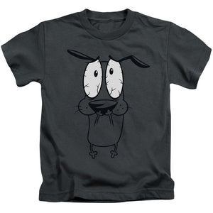Courage the Cowardly Dog Scared Juvenile Kids Youth T Shirt Charcoal (5 6)