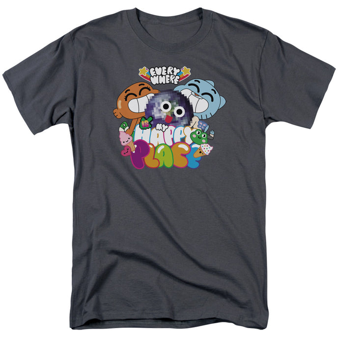 Amazing World of Gumball Happy Place Mens T Shirt Charcoal