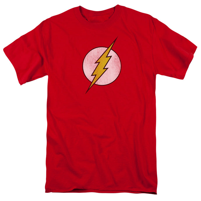 DC Comics Flash Flash Logo Distressed Mens T Shirt Red