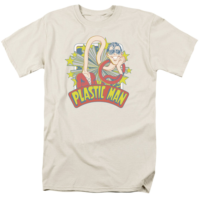 DC Comics Plastic Man Stars Mens T Shirt Cream