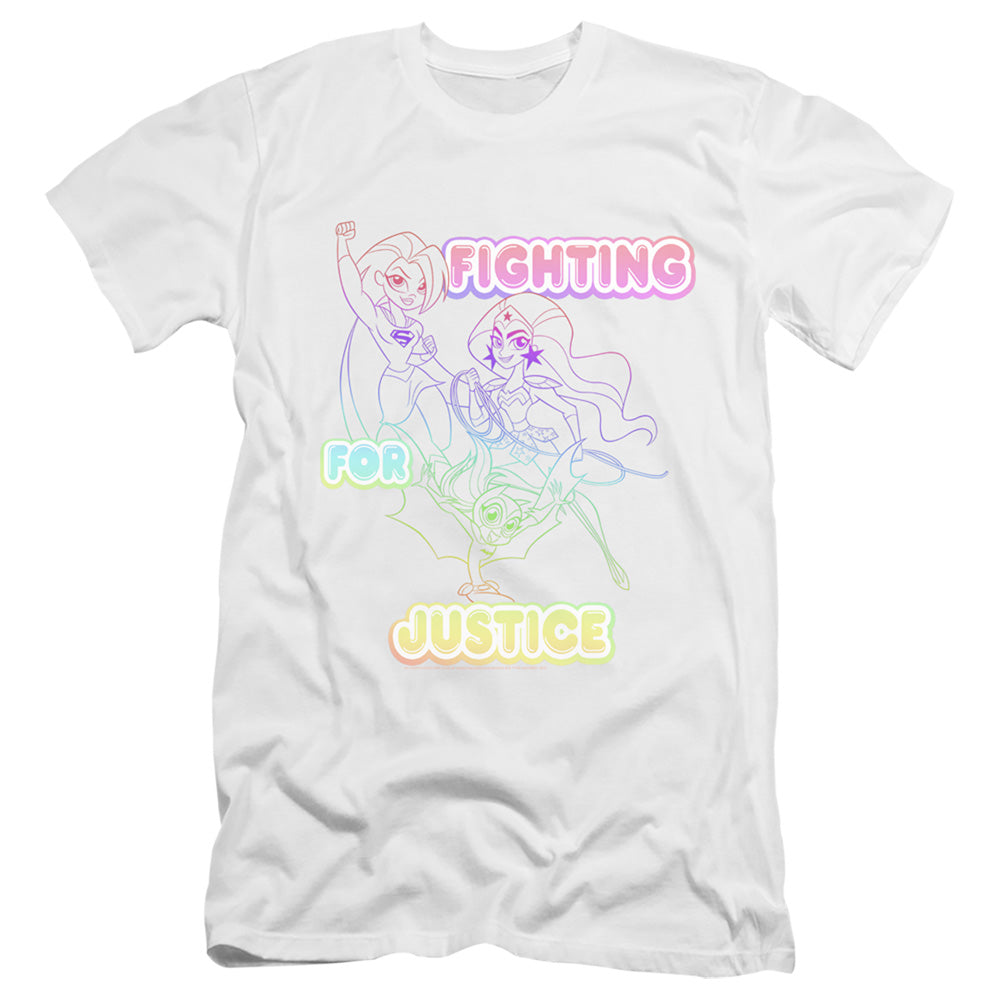 Dc Superhero Girls Fighting for Justice Premium Bella Canvas Slim Fit Mens T Shirt White