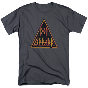 Def Leppard Distressed Logo Mens T Shirt Charcoal