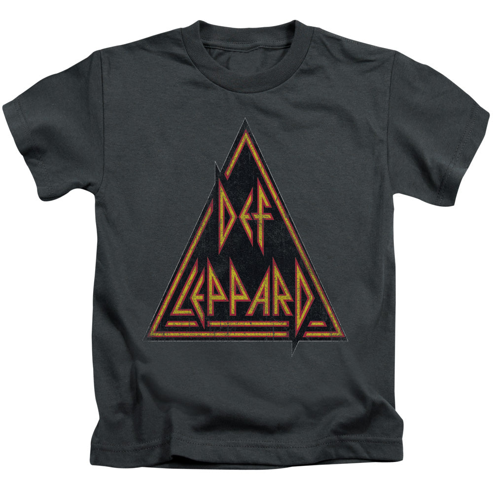 Def Leppard Distressed Logo Juvenile Kids Youth T Shirt Charcoal