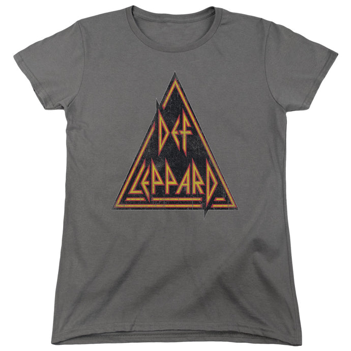 Def Leppard Distressed Logo Womens T Shirt Charcoal
