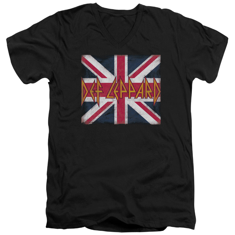 Def Leppard Union Jack Mens Slim Fit V-Neck T Shirt Black