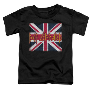 Def Leppard Union Jack Toddler Kids Youth T Shirt Black