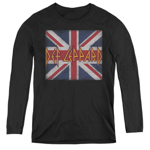 Def Leppard Union Jack Womens Long Sleeve Shirt Black