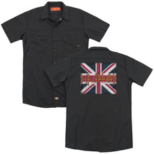 Load image into Gallery viewer, Def Leppard Union Jack Back Print Mens Work Shirt Black
