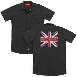 Def Leppard Union Jack Back Print Mens Work Shirt Black