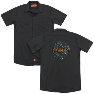 Def Leppard Broken Glass Back Print Mens Work Shirt Black