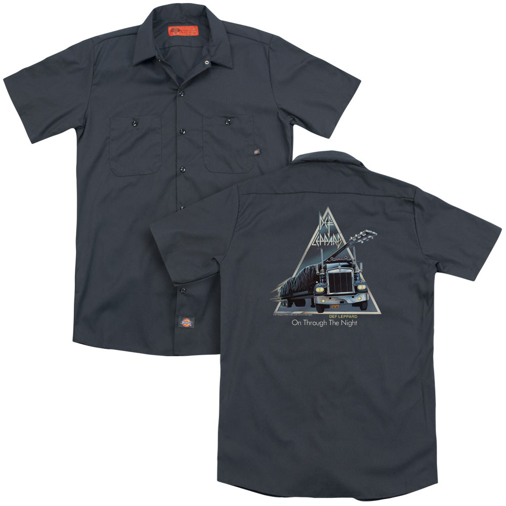 Def Leppard On Through The Night Back Print Mens Work Shirt Charcoal