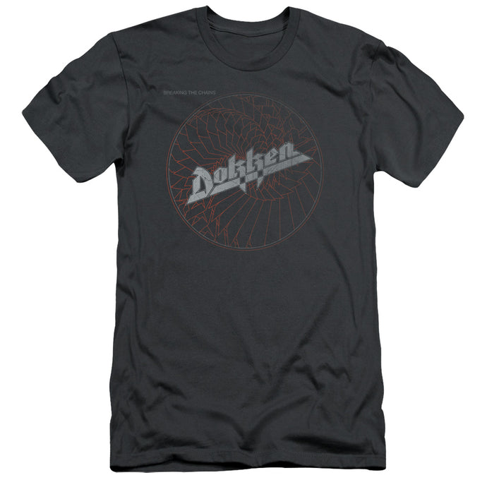 Dokken Breaking The Chains Slim Fit Mens T Shirt Charcoal