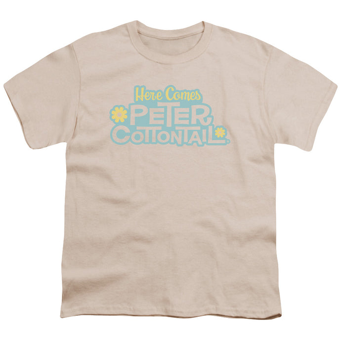 Here Comes Peter Cottontail Logo Kids Youth T Shirt Cream