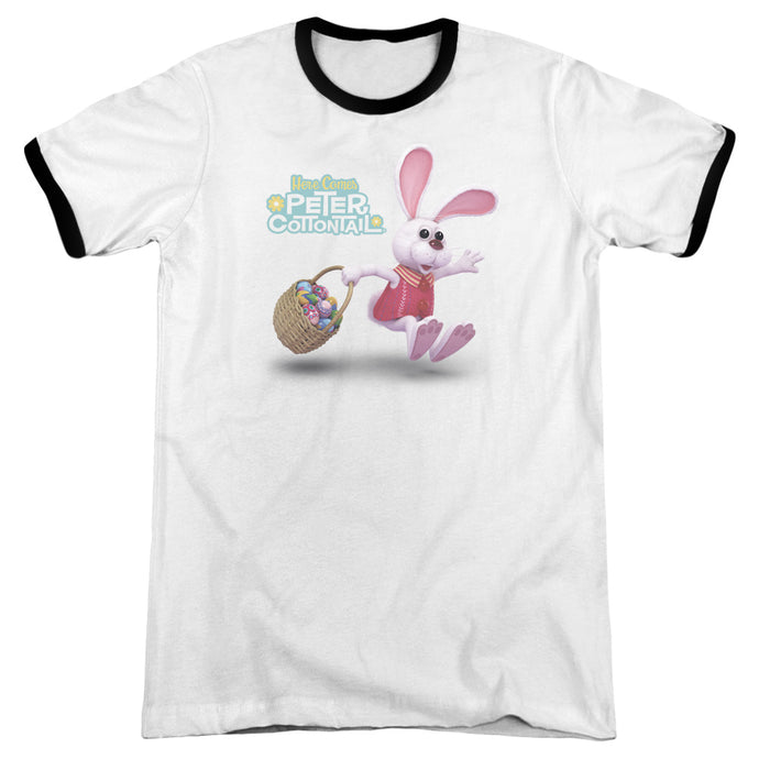 Here Comes Peter Cottontail Hop Around Heather Ringer Mens T Shirt White