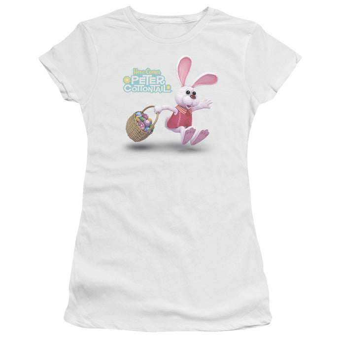 Here Comes Peter Cottontail Hop Around Junior Sheer Cap Sleeve Womens T Shirt White