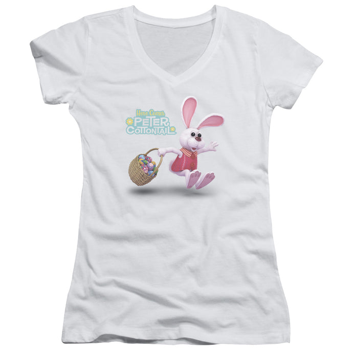 Here Comes Peter Cottontail Hop Around Junior Sheer Cap Sleeve V Neck Womens T Shirt White