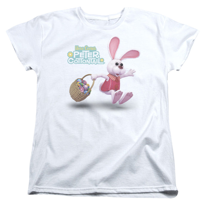 Here Comes Peter Cottontail Hop Around Womens T Shirt White
