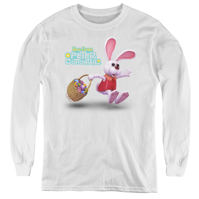 Here Comes Peter Cottontail Hop Around Long Sleeve Kids Youth T Shirt White