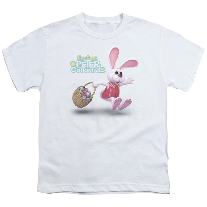 Here Comes Peter Cottontail Hop Around Kids Youth T Shirt White