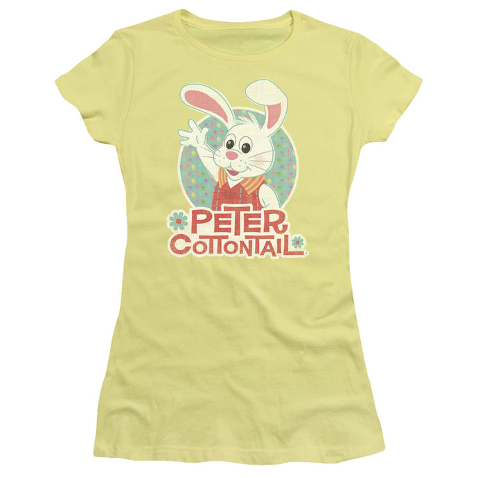 Here Comes Peter Cottontail Peter Wave Junior Sheer Cap Sleeve Womens T Shirt Yellow