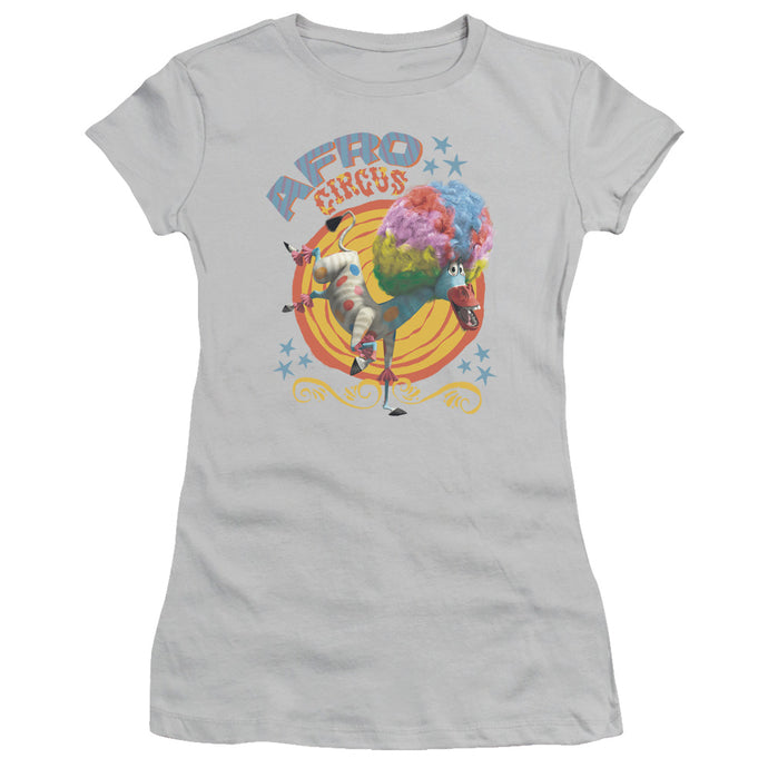 Madagascar Afro Circus Junior Sheer Cap Sleeve Womens T Shirt Silver