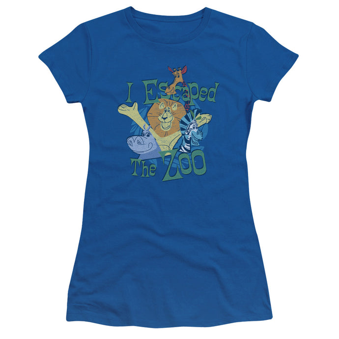 Madagascar Escaped Junior Sheer Cap Sleeve Womens T Shirt Royal Blue