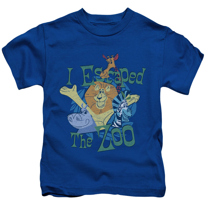 Madagascar Escaped Juvenile Kids Youth T Shirt Royal Blue