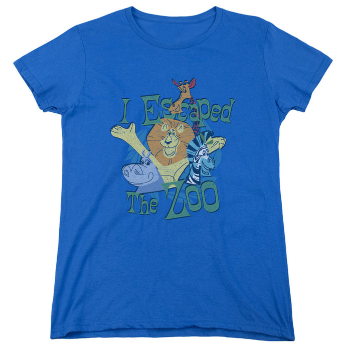Madagascar Escaped Womens T Shirt Royal Blue