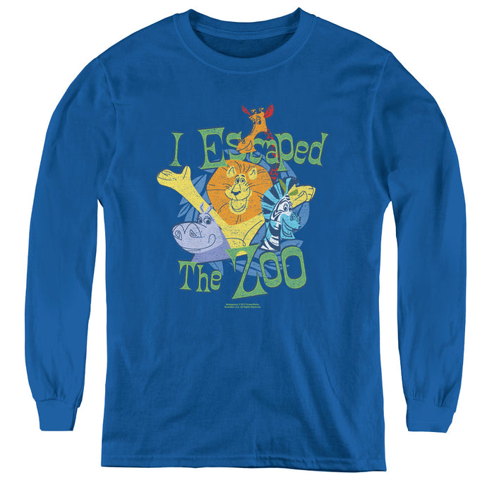 Madagascar Escaped Long Sleeve Kids Youth T Shirt Royal Blue