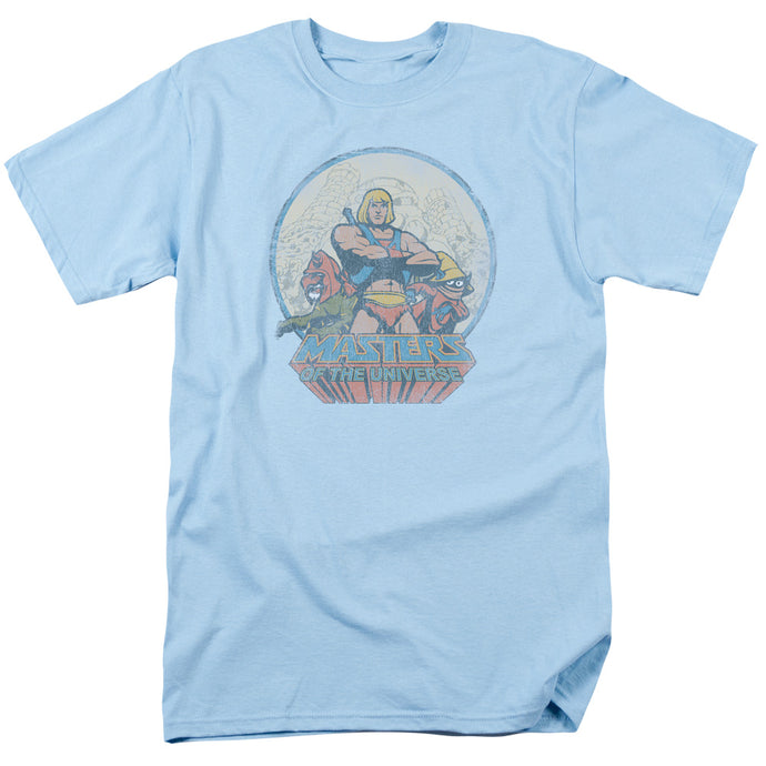 Masters of the Universe He Man and Crew Mens T Shirt Light Blue