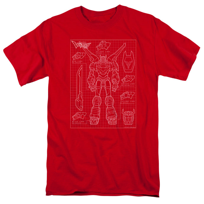 Voltron Voltron Schematic Mens T Shirt Red