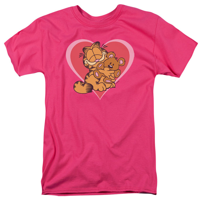 Garfield Cute N Cuddly Mens T Shirt Hot Pink
