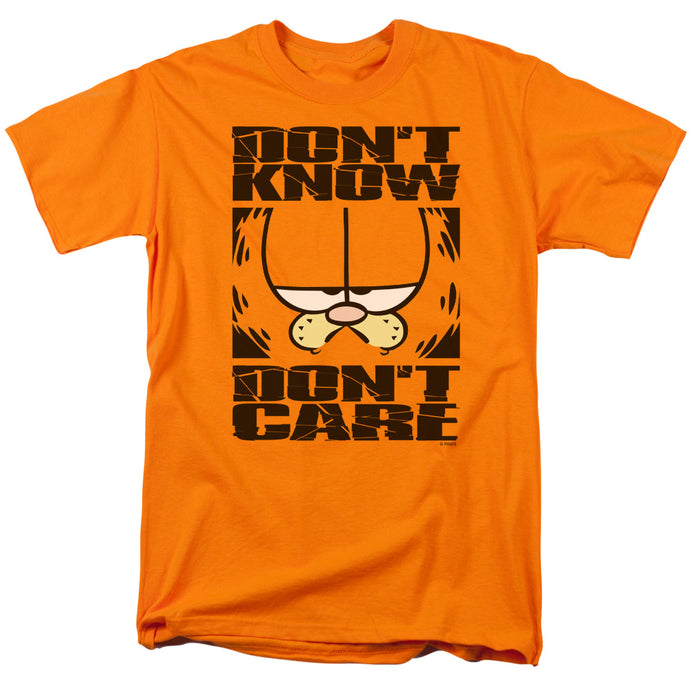 Garfield Dont Know Dont Care Mens T Shirt Orange