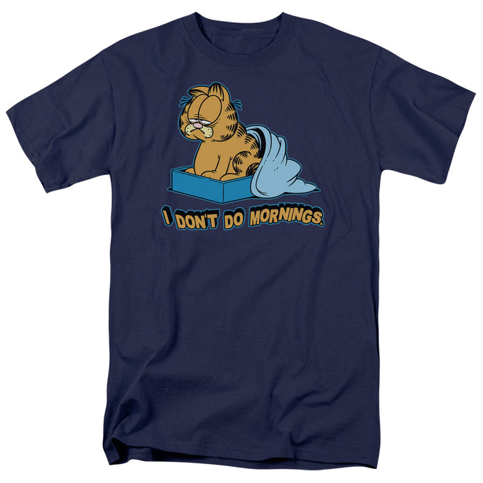 Garfield I Dont Do Mornings Mens T Shirt Navy Blue