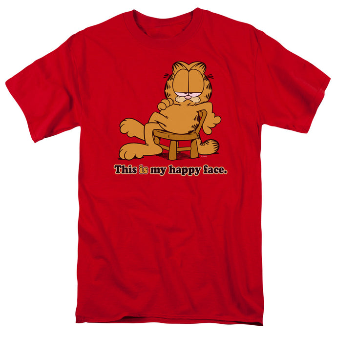 Garfield Happy Face Mens T Shirt Red