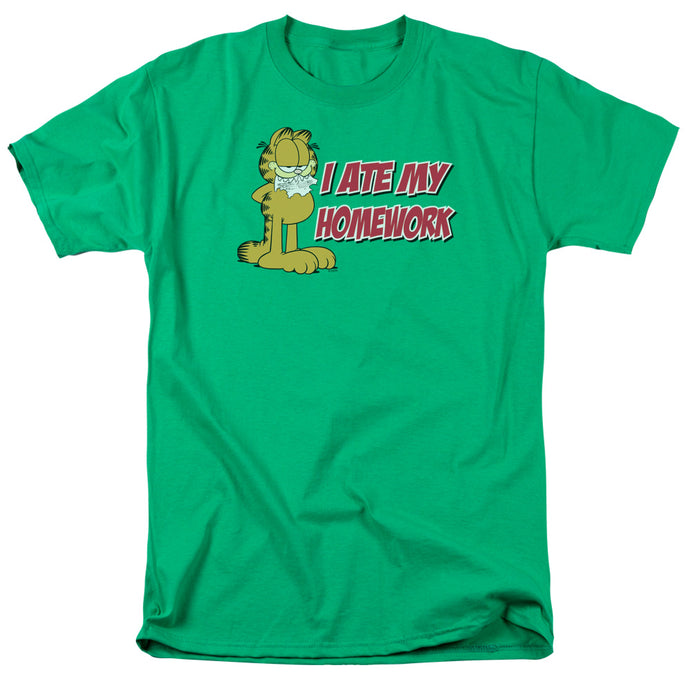 Garfield I Ate My Homework Mens T Shirt Kelly Green
