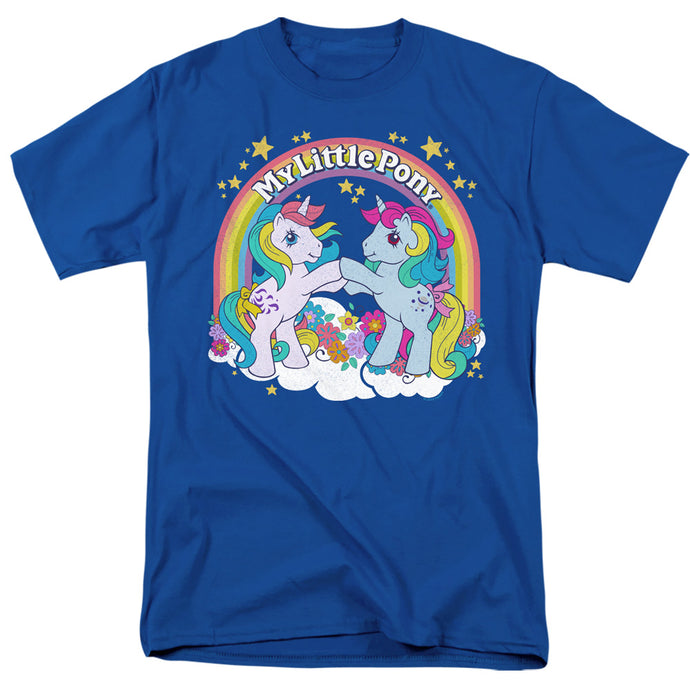 My Little Pony Retro Unicorn Fist Bump Mens T Shirt Royal Blue