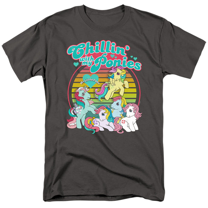 My Little Pony Retro Chillin With My Ponies Mens T Shirt Charcoal
