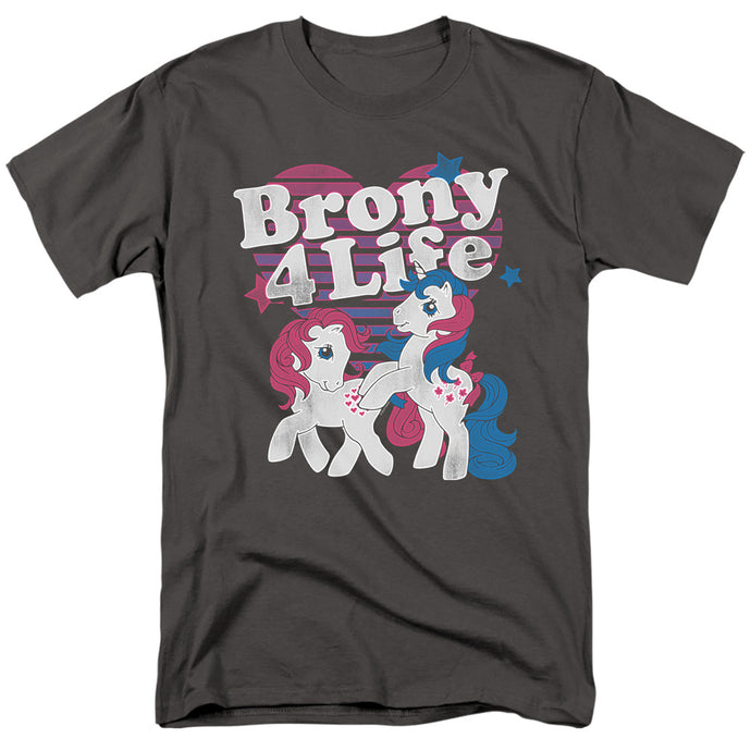 My Little Pony Retro Brony 4 Life Mens T Shirt Charcoal