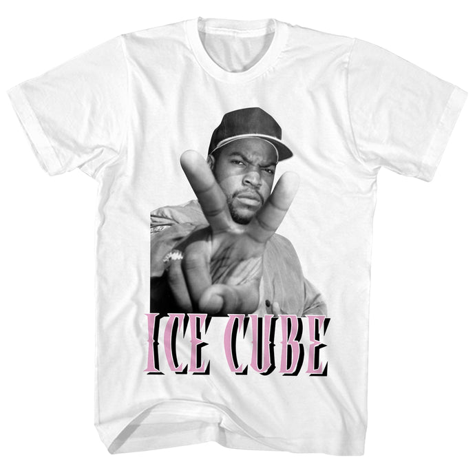 Ice Cube Pink Peace Mens T Shirt White