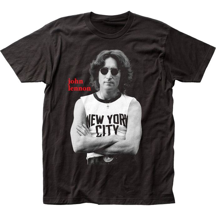 John Lennon NYC B&W Mens T Shirt Black