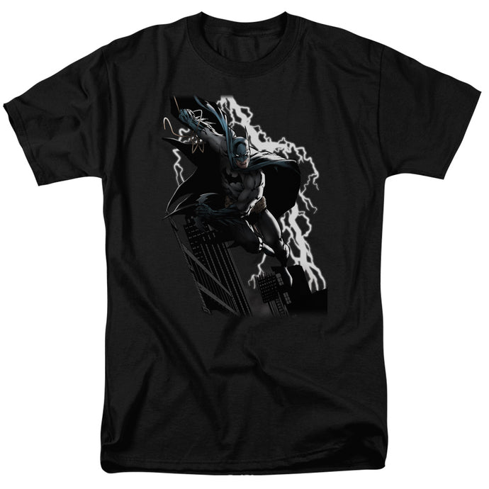 Justice League Lighting Crashes Mens T Shirt Black