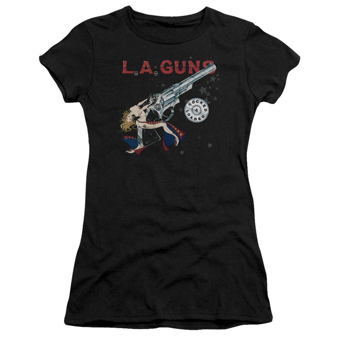 L.A. Guns Cocked And Loaded Junior Sheer Cap Sleeve Womens T Shirt Black